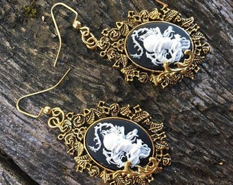Earrings Steampunk Victorian Gothic Pirate Dragon and Skull Cameo