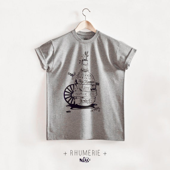 RHUMERIE grey men t-shirt screenprinted black, gifts ideas, rum, bottle, far west, sailor, pirate, christmas gift, men gift, chiné gray, sea