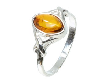 "Sterling Silver and Baltic Honey  Amber Ring ""Faith"""