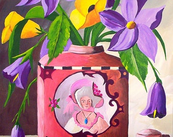 "Original Acrylic Painting ""Talcum Tin and Roadside Flowers"" Still Life  Fine Art"
