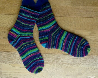 Handknit Blue Multicolour Socks