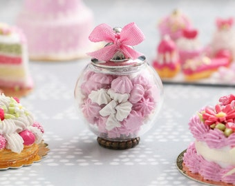 Glass Jar of Pink and White Meringues - Removable Lid - Miniature Food in 12th Scale for Dollhouse