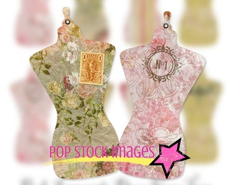Printable Dress Form Tag Sheet - Pink DRESS FORM Collage - Digital Tag Images - Digital Scrapbooking - DIY Tags - Pink Tag Printables