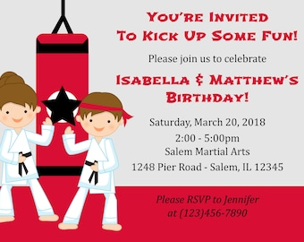 Karate Birthday Invitation For Two  (Digital File) / Karate Invitation / Karate Birthday Party / twins Karate Party / Karate Party
