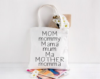 MOM, mommy, Mama, mum, Ma, MOTHER, momma, Mother's Day, Mom gift, Mother's day gift, Mom tote,Market tote, grocery bag, beach bag,