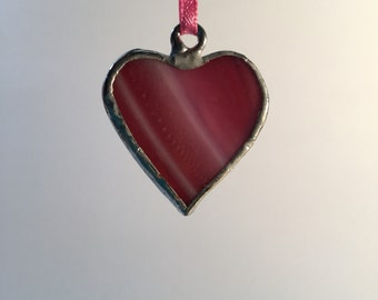 Small PINK Stained Glass Heart Ornaments or Gift Tags. Small sweetheart gift or valentine.