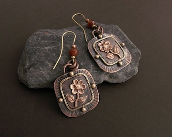 Mixed metal earrings with flowers and agate beads, copper and brass jewelry, rustic handmade earrings, mixed metal jewelry, dangle earrings
