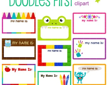 name tag clipart etsy rh etsy com name badge clipart name tag border clipart