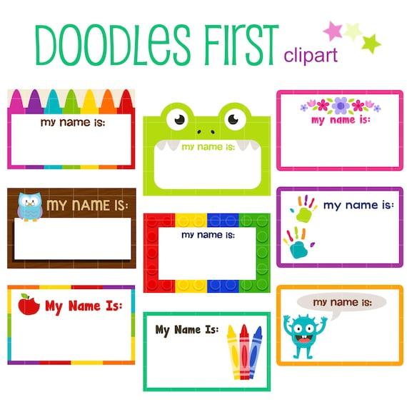 Kiddie Name Tags Digital Clip Art for Scrapbooking Card Making