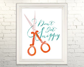 SNIPPY Printable Artwork Instant Download jpg Digital Art Print Wall Art Scissors Snip Crafty Typography Illustration Calligraphy Crafter