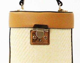 Straw Trendy Cross Bag Brown