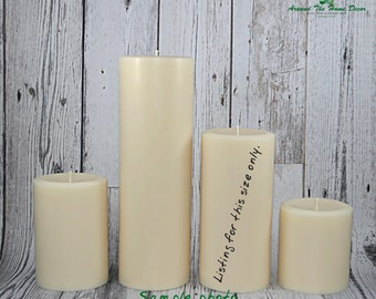 All Natural Vegan 6.5 Inch Soy Pillar Candle, Scented or Unscented. Tall Pillar