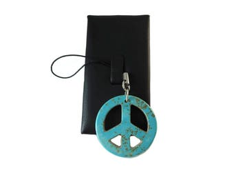 Blue Peace Sign Charm for Peace on Earth Day Gift, Brown and Turquoise Blue Peace Zipper Pull Peace Out, Unisex Gift Topper Peace Symbol