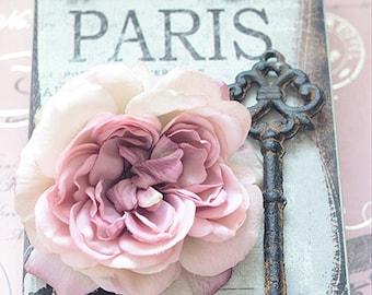 Paris Photography, Paris Roses Keys Books Wall Art, Paris Shabby Chic Decor, Paris Skeleton Keys, Paris Decor, Roses Skeleton Key Book Print