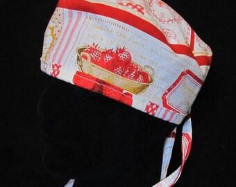 Strawberry Jam Tie Back Scrub Hat