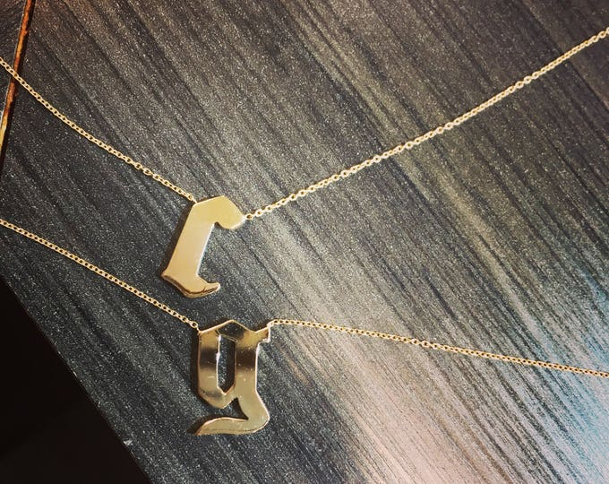 Double Initial Cara Necklace in 14k Gold