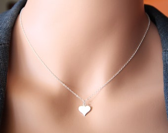 Cute Initial Large Heart necklace - STERLING SILVER , Engraved necklace , Mother's Day gift , romantic birthday gift , Sweet gift for her