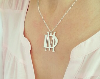 Personalized Initial Necklace - Silver 2 Initials Necklace - 1.2 inch -  925 Sterling Silver