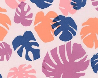 SALE Fabric, Conservatory by Heather Jones AHN-16642-239 Sorbet, Houseplant Fabric, Navy Blue and Pink Fabric, Leaves Fabric