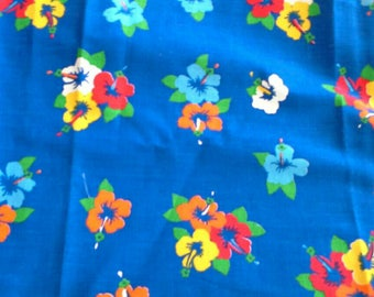 Bright Flowers on Blue Background Cotton Fabric 3 Yards X0828