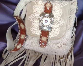 Handmade Bohemian Boho Southwestern Leather Suede Rhinestone and Lace Shoulder Purse