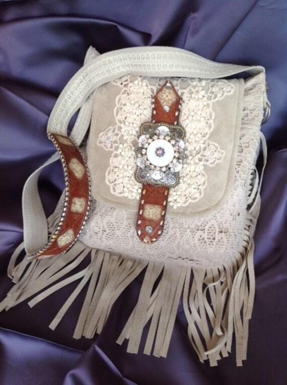 Handmade Bohemian, Boho, Hobo, Southwestern, Leather, Suede, Rhinestone and Lace Shoulder Bag