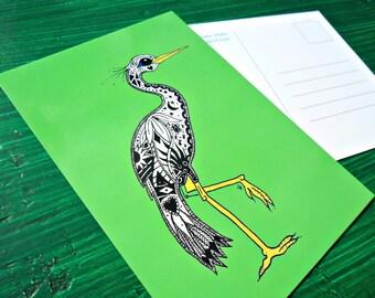 Postcard Green Florida Egret Animal Art