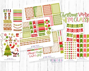 Christmas Vertical Planner Stickers Happy Planner monthly Classic Christmas Color Stickers for use with Erin Condren