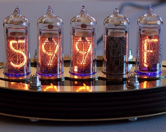 5-tube Nixie Thermometer V2 (Assembled and ready to use, with brass top)