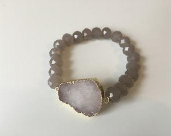 Light Grey Druzy Beaded Bracelet