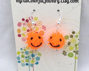 Bright orange smiley face earrings, spiky rubber earrings, spiky ball earrings, silicone ball earrings, sterling silver, fluorescent orange