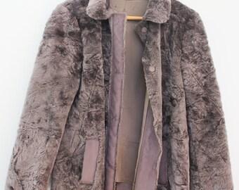 Grey Faux Fur Vintage Jacket