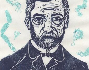 Thermochromic Linocut Louis Pasteur