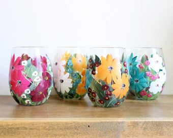 Stemless Wine Glasses Hand Painted Mixed Floral 2