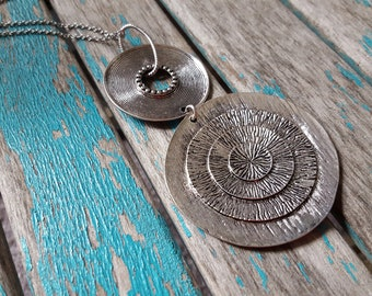 HUGE Pendant Statement Necklace- Large Antique Silver Circles, Rustic Pendant, on your choice of chain