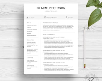 Professional Resume Template for Word | Clean Resume Design | Two Page Resume Download | Simple Resume Template | CV Template for Word