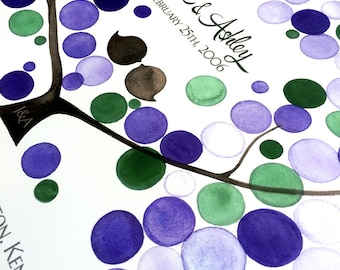 Purple Green Guest Book alternative Print - Unique wedding baby birthday gift for her - AMERICAN PLUM TREE watercolor art