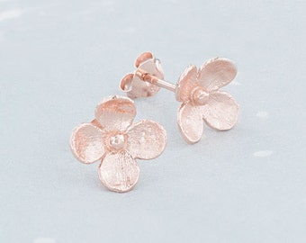 1 Pair of 925 Sterling Silver Rose Gold Vermeil Style flower Stud Earrings. 10 mm.  :pg0227