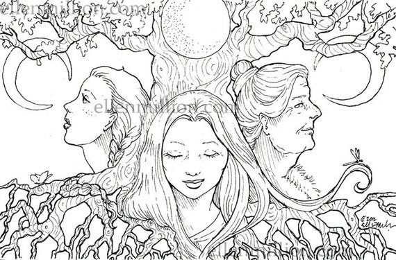 Mother Maiden Crone Coloring Pages
