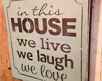Wood Sign In This House Subway Inspirational Primitive Made To Order
