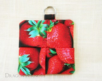 Strawberry Earbud Holder - red and green fabric guitar pick case, photo-realistic fruit cotton keychain pocket, mini pouch with key ring