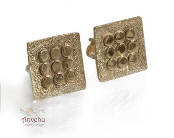 Solid gold Stud earrings square stud gold 14k yellow gold Vintage style earrings Organic earrings