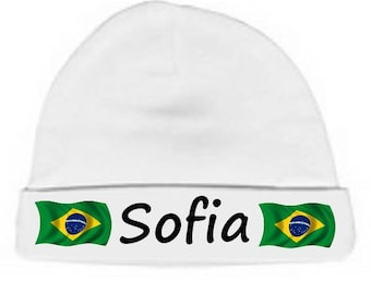 Personalized with name White Brazil baby bonnet