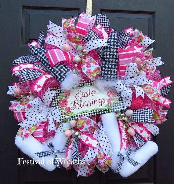 Easter Deco Mesh Wreath Easter Front Door Wreath Easter