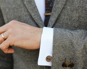 Wood Anniversary Gift for Him / Monogram Cufflinks / 5th Anniversary Gift Wood / Personalized initial cufflinks / Anniversary for Man