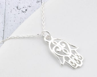 Sterling Silver Hamsa necklace, Hamsa necklace, Hamsa pendant, silver Hamsa hand pendant, Hamsa Hand hand amulet, Hand Fatima, Hand Buddha