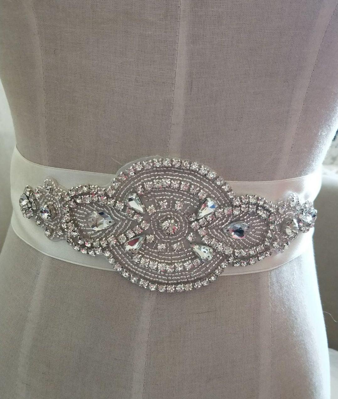 Rhinestone Applique Crystal Trim Rhinestone Beaded Applique Bridal  Accessories Wedding Dress Sash Belt Headband from Lacebeauty on Etsy Studio 9f25a6a3c70d