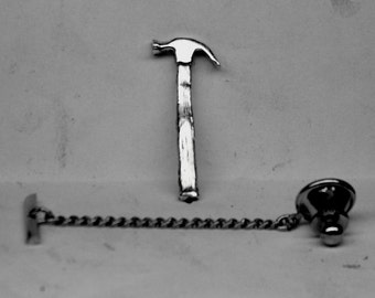 HAMMER Tie Tack Sterling Silver Free Shipping