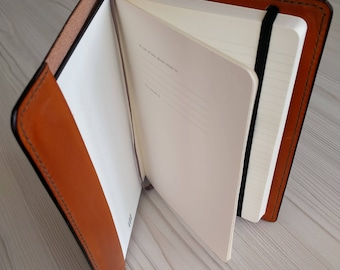 Leather notebook cover for A5 Moleskine notebook. Handmade in finest Italian leather.