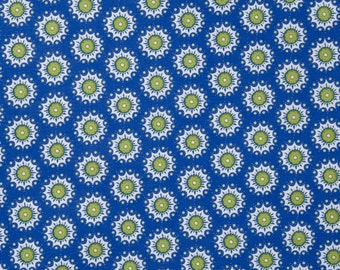 By The HALF YARD - Urban Chic by Tina Higgins for Quilting Treasures, #23653-W Blue Floral Medallions Outlined with White Dots on Blue